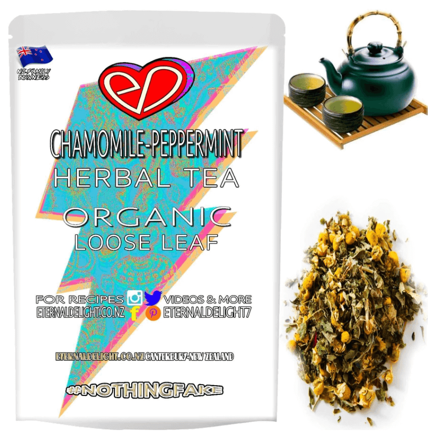 Organic Chamomile Peppermint Loose Leaf Tea is Perfect for Nourishing Your Relaxation Needs. A Delicious Herbal Combo that Soothes and Calms.