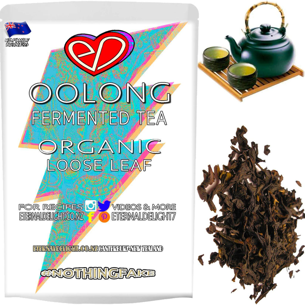Partially Fermented Organic Green and Black Leaves Give Oolong Tea its Smooth Aroma and Full Robust Flavour. A Rich and Uplifting, Loose Leaf Wellness Tonic.