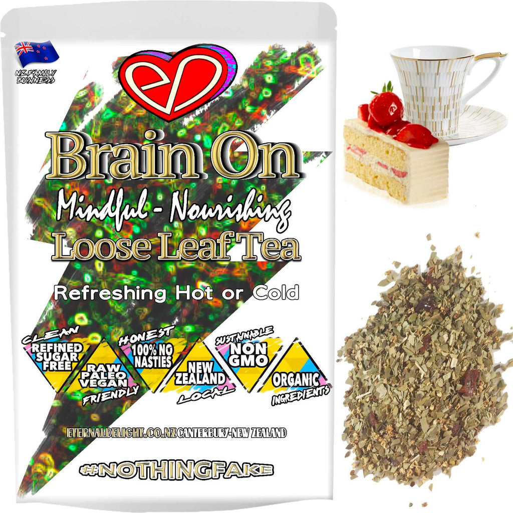 Organic Brain On is a Full Bodied Loose Leaf Tea and a Naturally Satisfying Afternoon Delight that is Rich in Flavour and Holistically Keeps One in Focus.