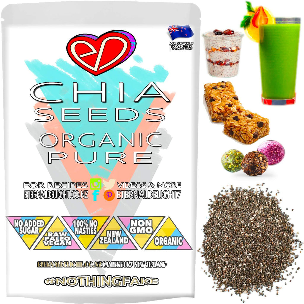 Organic Chia Seeds are the Perfect Protein Whole-Food Addition to a Variety of Meals. Loaded with Delicious Raw Nutrients and Important Wellness Benefits.
