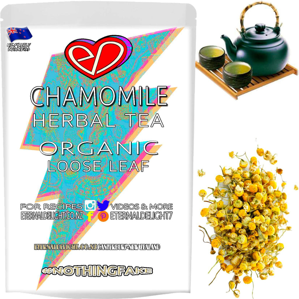 Organic Chamomile Flower is a Deliciously Calming and Relaxing Herbal Loose Leaf Tea that Promotes a Better Mood and a Restorative Night's Rest. Buy $3.99.