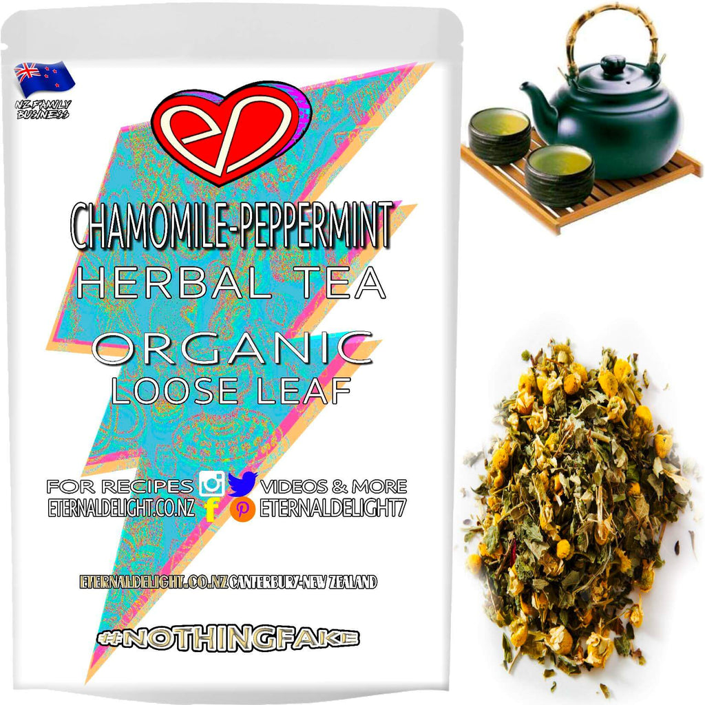 Organic Chamomile Peppermint Loose Leaf Tea is Perfect for Nourishing Your Relaxation Needs. A Delicious Herbal Combo that Soothes and Calms. Buy $3.99.