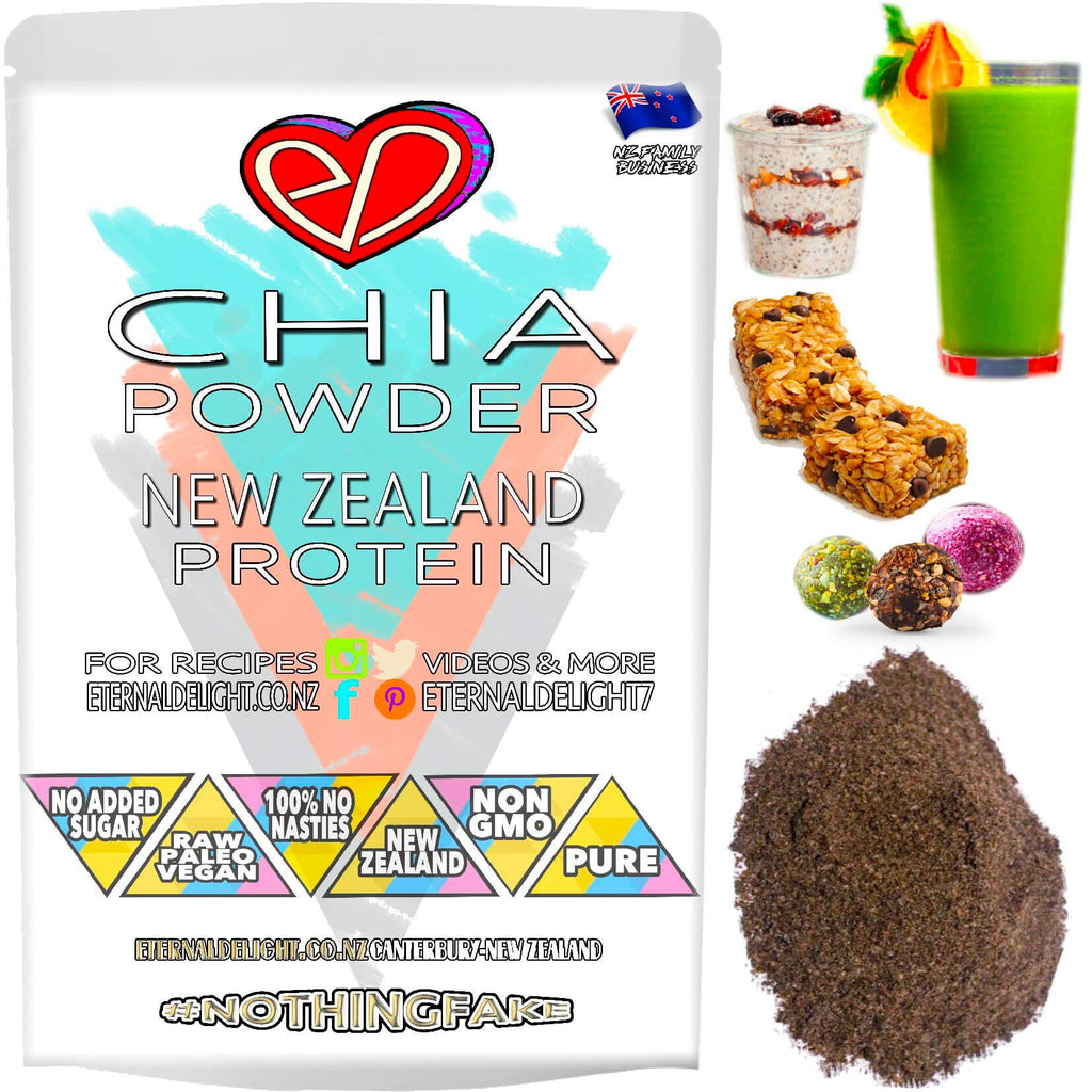 Organically Grown New Zealand Raw Chia Flour is a Gluten Free Powder that Contains 6.2g of Protein Per Serve and is an Excellent Source of Dietary Fibre.