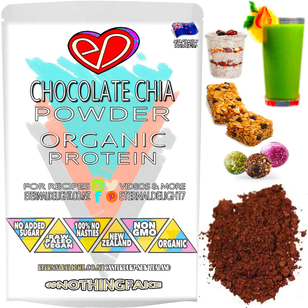 A Raw Vegan Functional Superfood Combo of Organic Chocolate and New Zealand Grown Chia Protein Powder. A Simple and Delicious Way to Nourish Best Wellness.