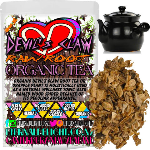 Organic Devil's Claw Root Tea or Grapple Plant is Holistically used as a Natural Wellness Tonic. Also Named Wood Spider Because of its Peculiar Appearance.