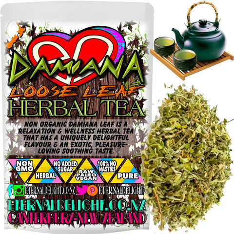 Non Organic Damiana Leaf is a Relaxation and Wellness Herbal Tea that has a Uniquely Delightful Flavour and an Exotic, Pleasure-Loving Soothing Taste.
