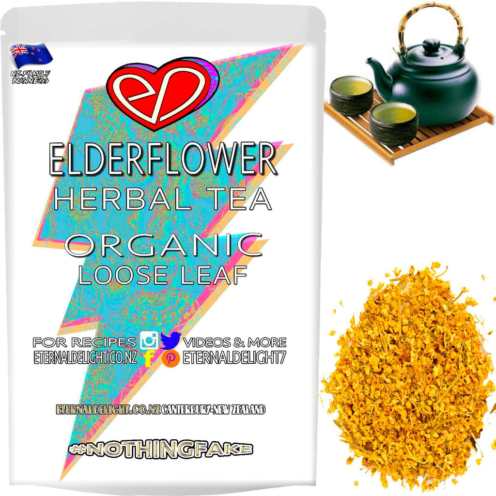 Shop for Best Holistic Relaxation. Try Organic Elderflower Loose Leaf Tea with a Slice of Lemon Before Bed and Nourish Wellbeing the Herbal Way. Buy $3.99.