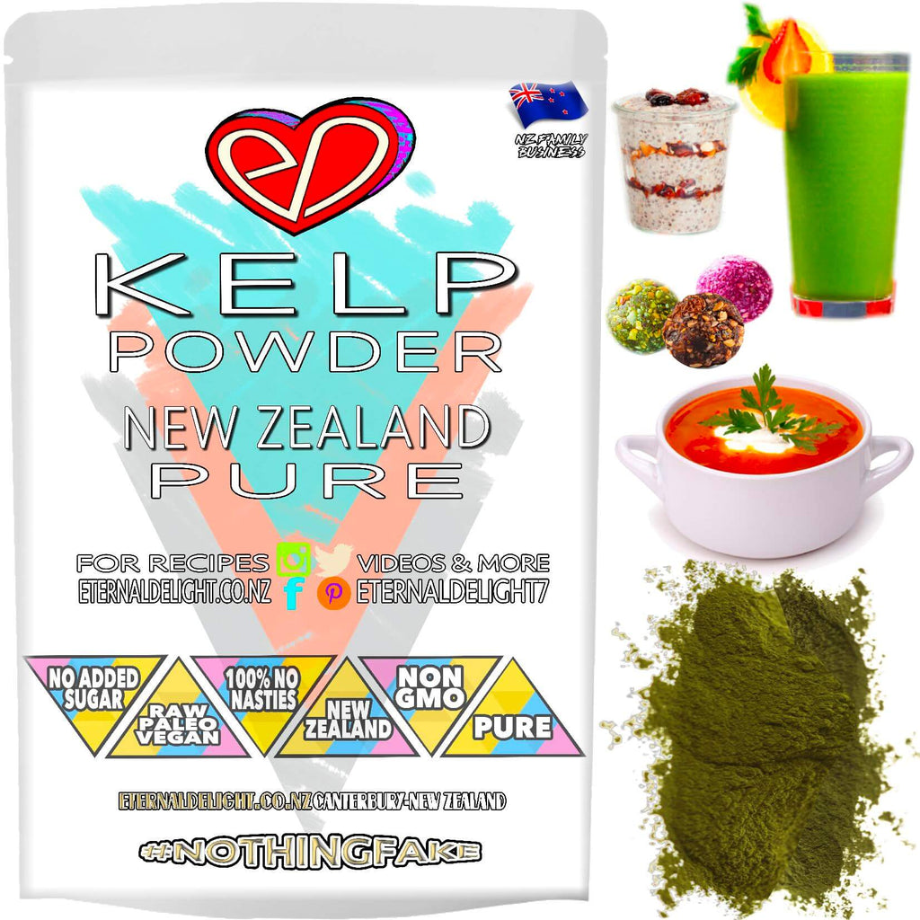 Shop New Zealand Kelp Powder. A Majestic Ocean Vegetable and Nourishing Super-Green. Full of Raw Beauty Wellness Uses and Benefits. Best Vegan Buy $3.99.