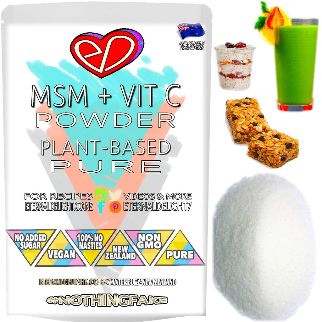 MSM with Vitamin C is a Pure Holistic Powder that Naturally Nourishes Best Vitality and Sports Wellbeing. 100% Vegan and Perfect for the Wellness Pantry.