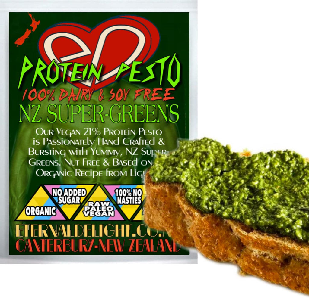 Our Vegan 21% Protein Pesto is Passionately Hand Crafted & Bursting with Yummy, NZ Super-Greens. Nut Free & Based on the Organic Recipe from Liguria.