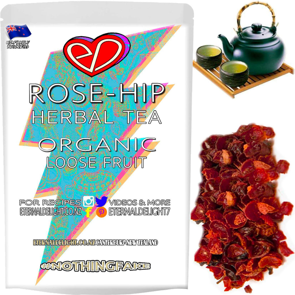 Organic Rose-Hips Make for a Mildly Tangy Fruity Tea that Works Well with a Hint of Peppermint Leaves. A Delightfully Herbal and Naturally Cleansing Tonic.