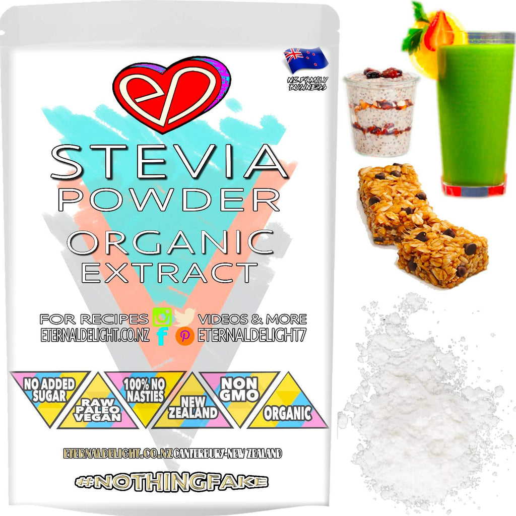 A Deliciously 100% Sweet Powder that is 90% Stevioside. Our Organic Stevia Leaf Extract is 450 Times Sweeter than Sugar and Contains 0 Calories.