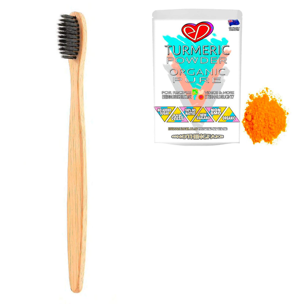 Eternal Delight Organic Bamboo and Activated Charcoal, Bio-Degradable Toothbrush. Eco-Friendly Design plus Organic Turmeric Powder. $10.99 Gift of Positive Change.
