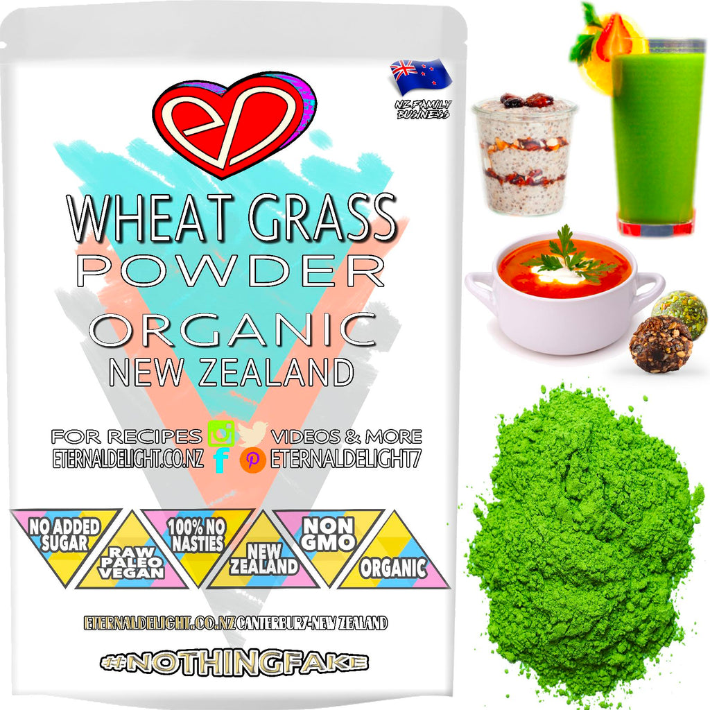 Our New Zealand Grown Wheat Grass Powder is an Organic Super-Green that Has an Alkalising Effect to Naturally Cool and Nourish Best Vitality and Wellness.