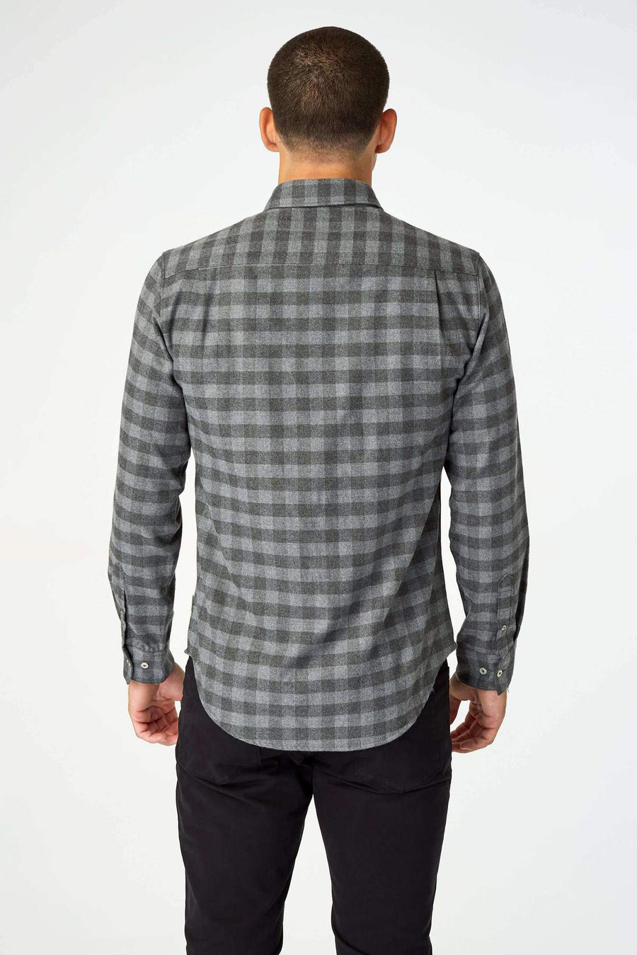 Asher Long Sleeve Flannel Shirt - Grey - Pavilion