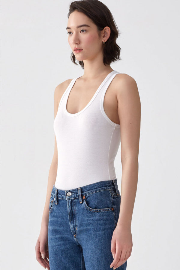 Rib Tank Body Suit - White