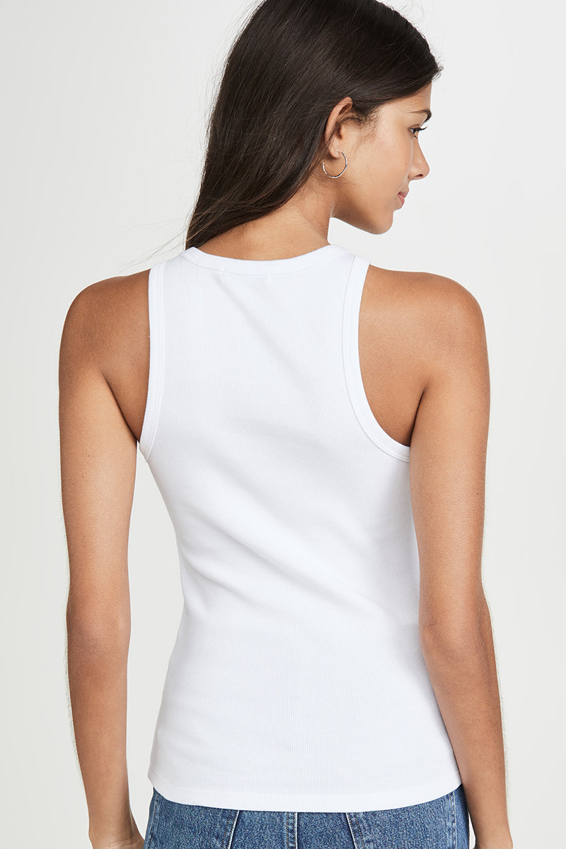 Rib High Neck Tank - White