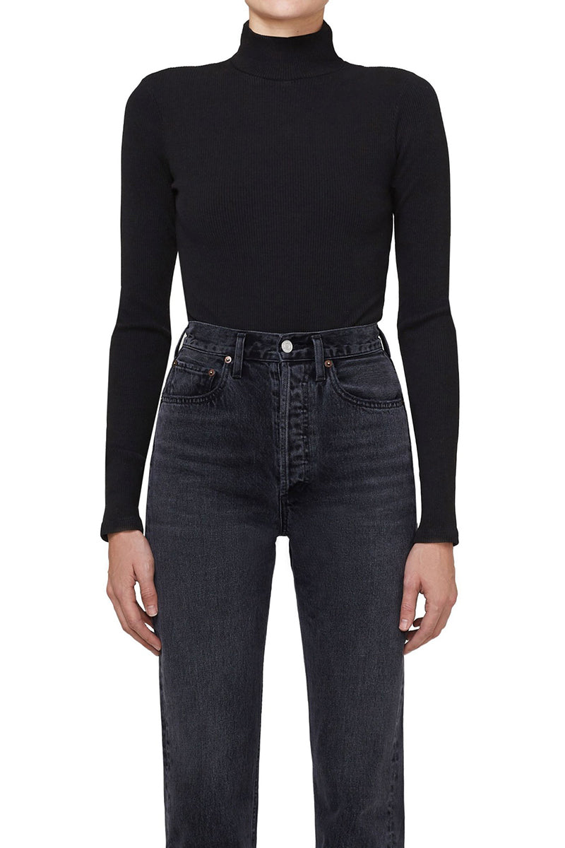 Turtleneck Long Sleeve Bodysuit - Black