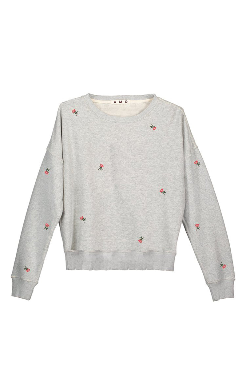 Classic Sweatshirt with Rosebud Embroidery - Heather Grey - Pavilion
