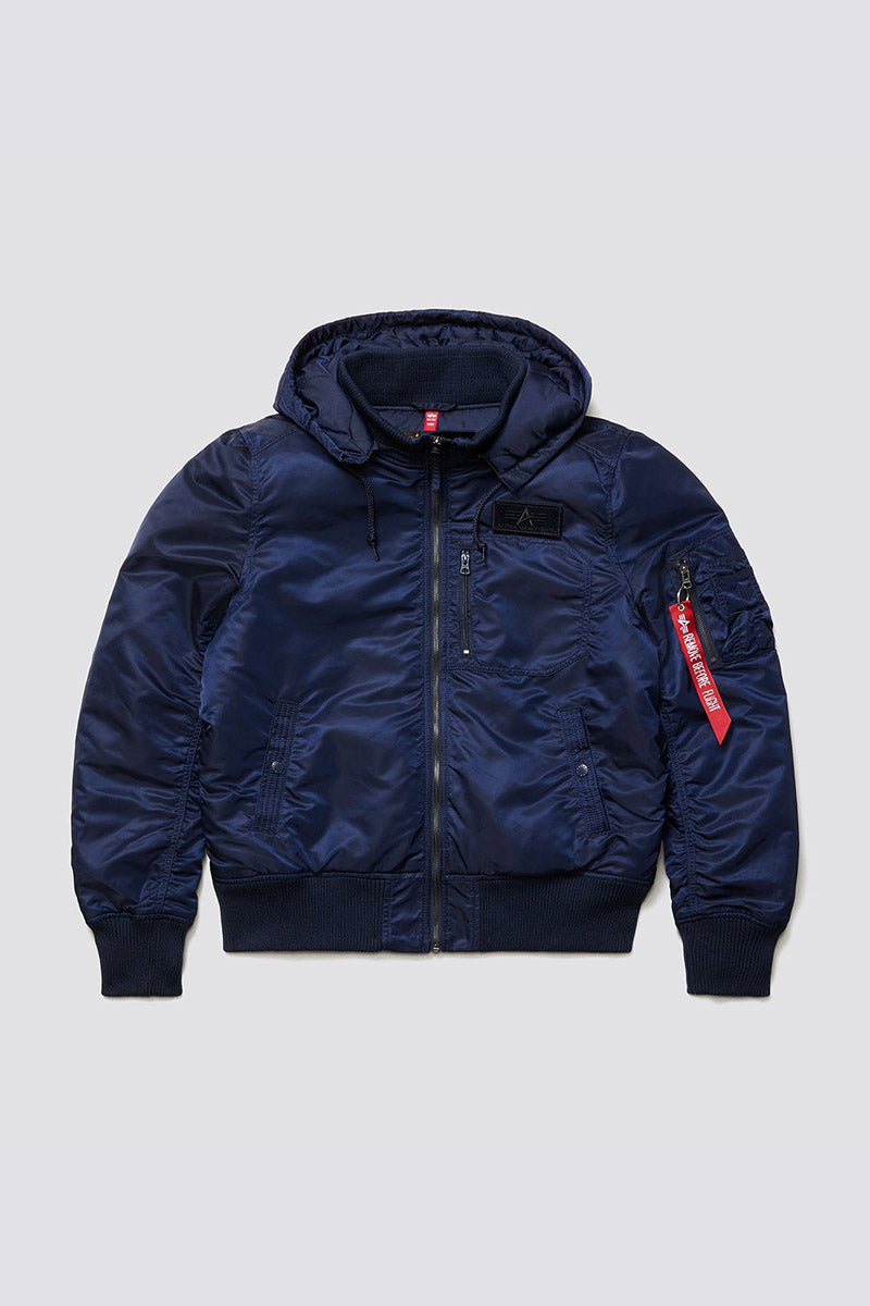 MA-1 Hooded Rib Flight Jacket - Replica Blue