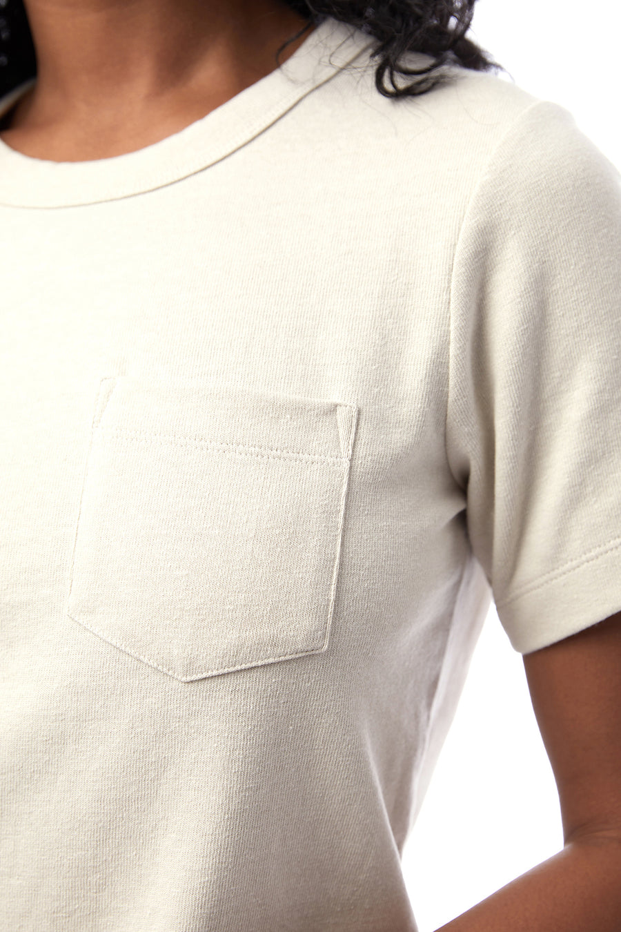 Recycled Heavyweight Cropped Pocket Tee - Ecru - Pavilion