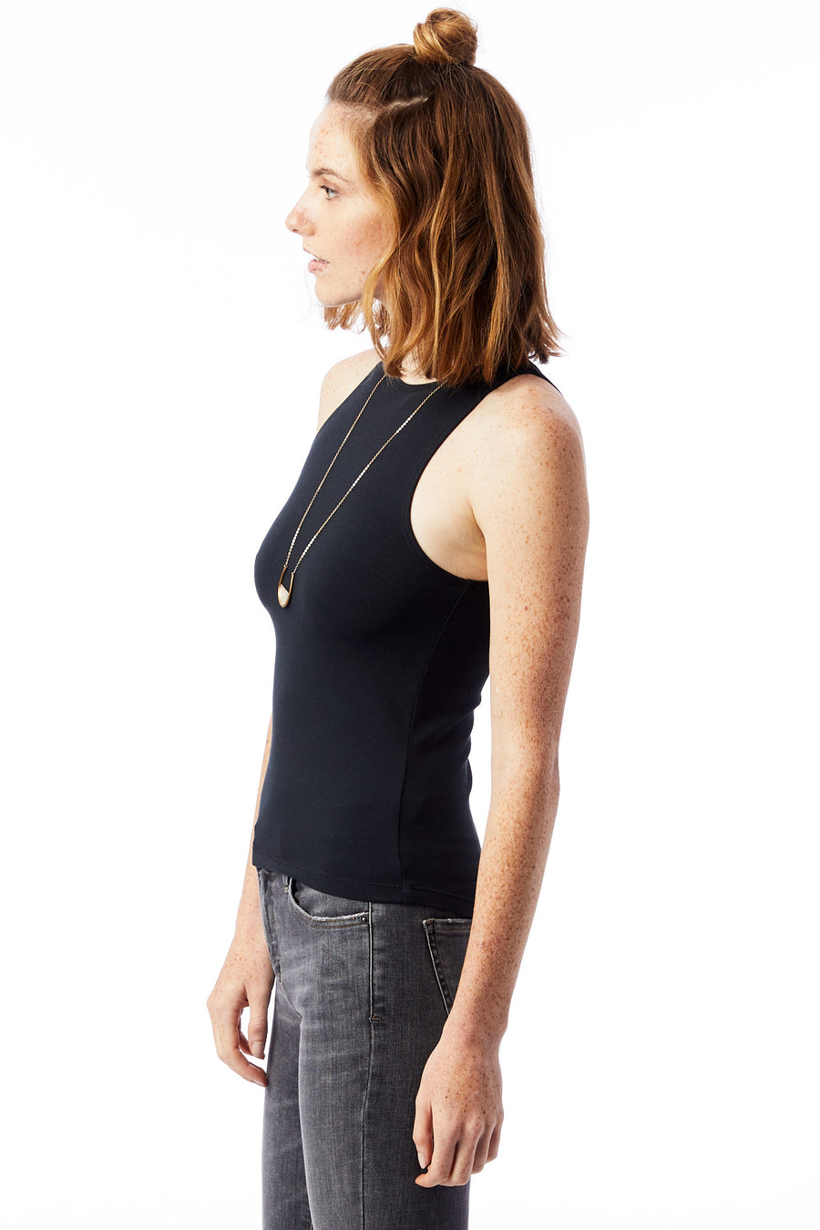 High Neck Modal Fitted Tank - Black