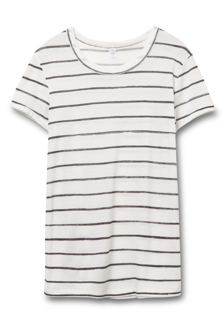 Ideal Printed Eco-Jersey T-Shirt - Eco Ivory Ink Stripe - Pavilion