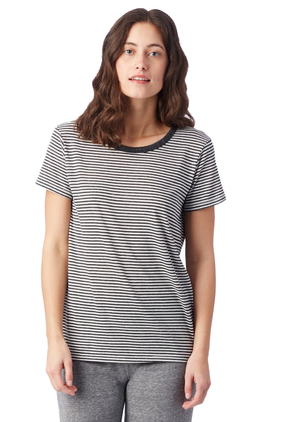 Ideal Striped Eco-Jersey T-Shirt - Eco Black Classic Stripe - Pavilion