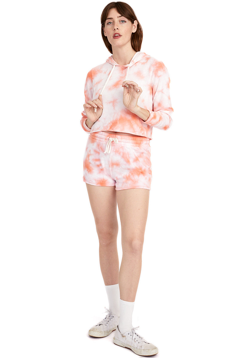 Terry Cropped Raw Edge Hoodie - Coral Tie Dye