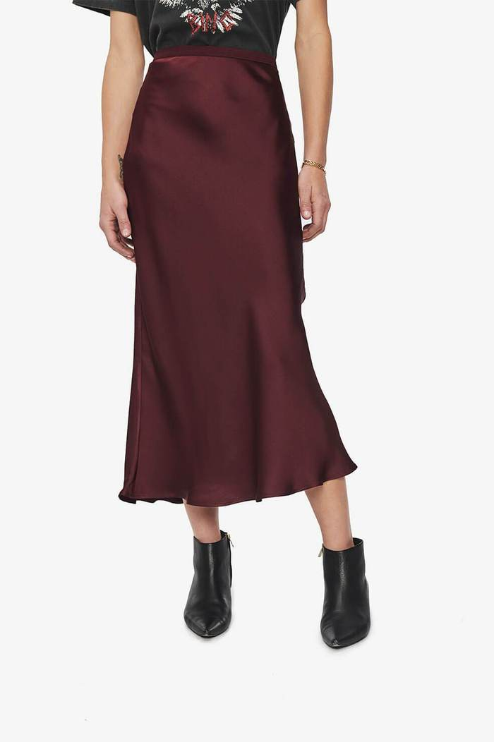 Bar Silk Skirt - Burgundy - Pavilion