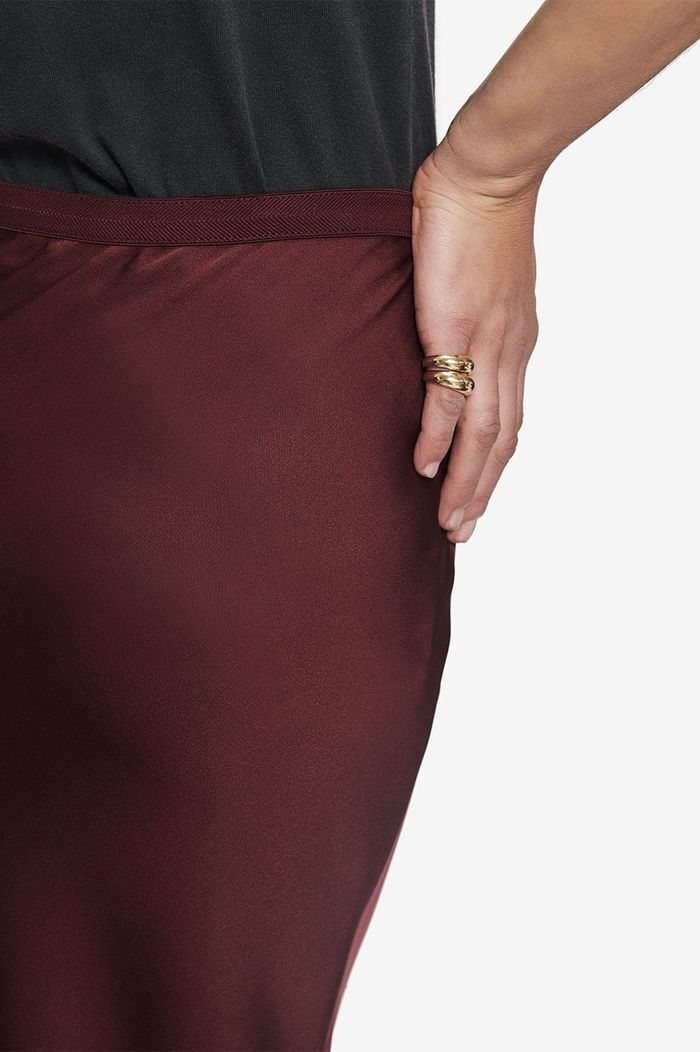 Bar Silk Skirt - Burgundy