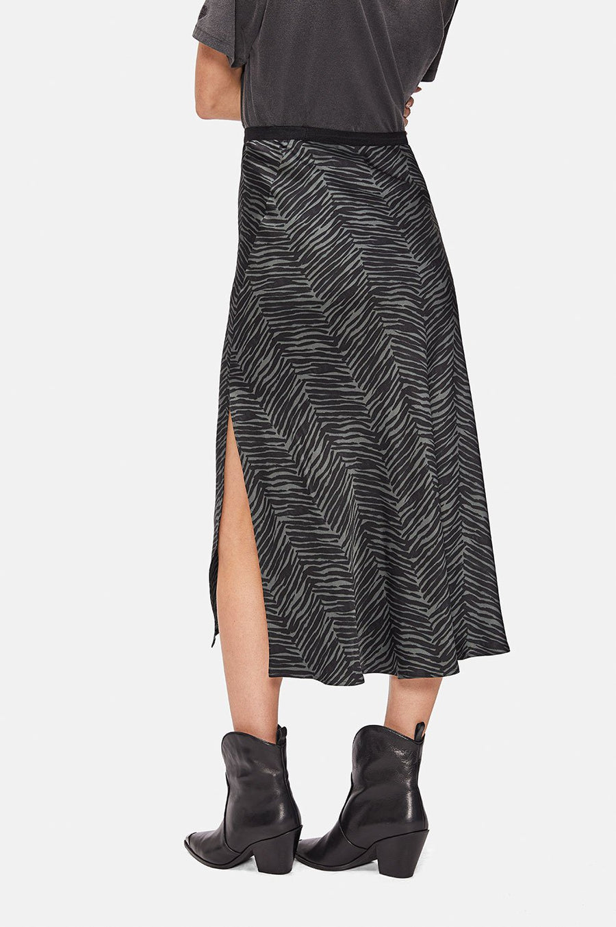 Dolly Silk Skirt - Willow Green Zebra