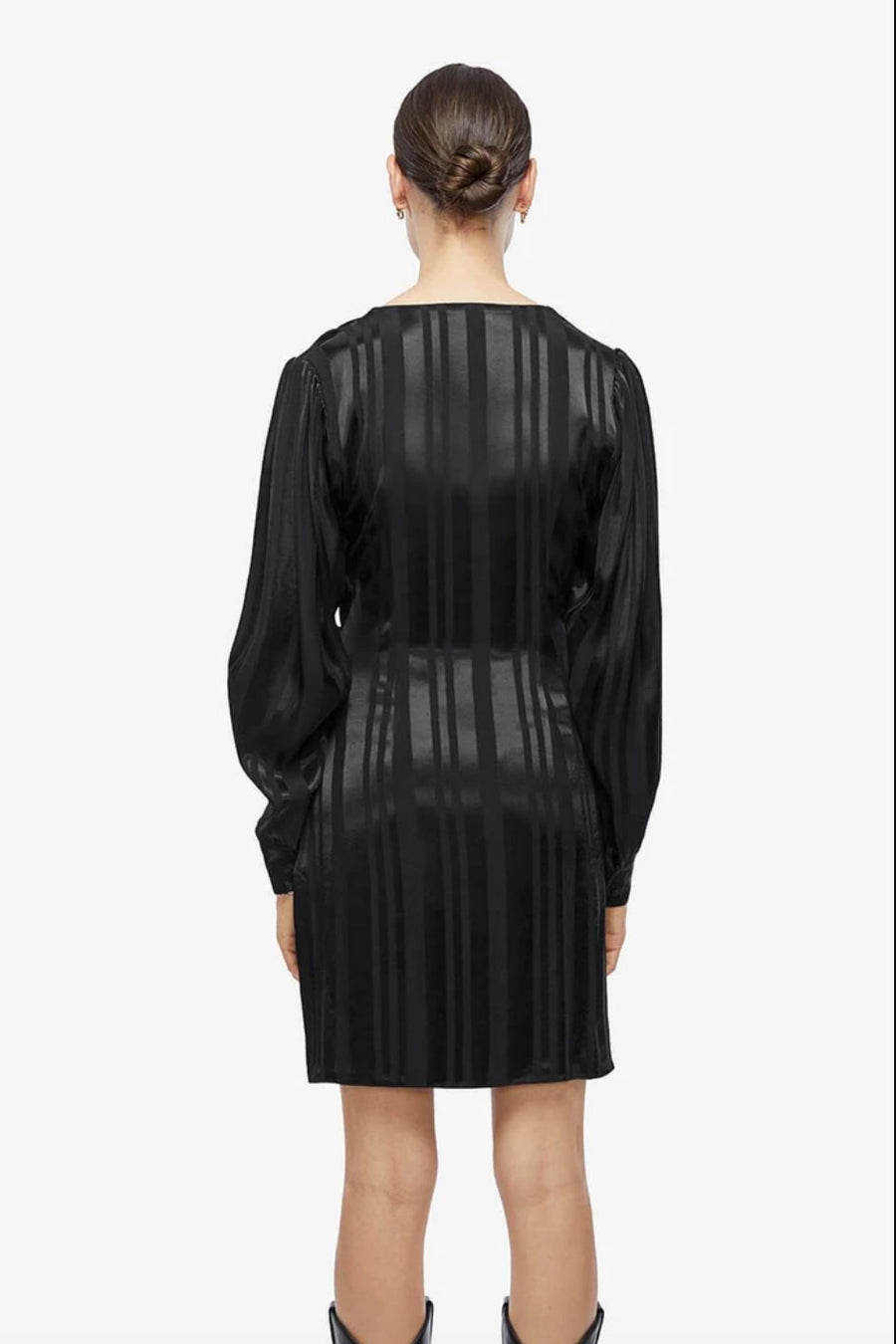 Penelope Dress - Black Tonal Stripe - Pavilion