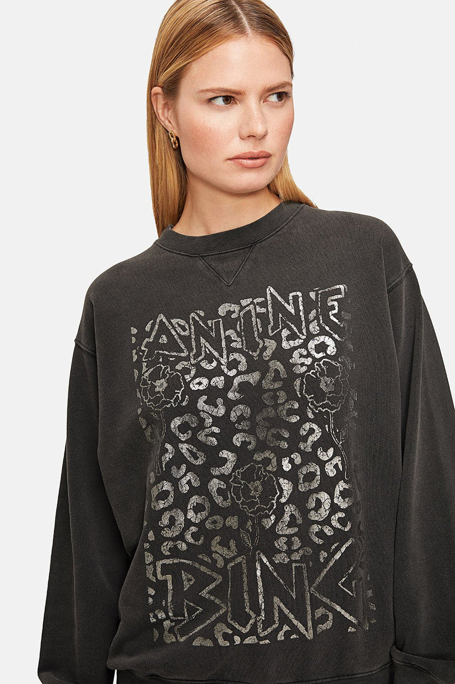 Ramona Sweatshirt Leopard Print - Washed Black