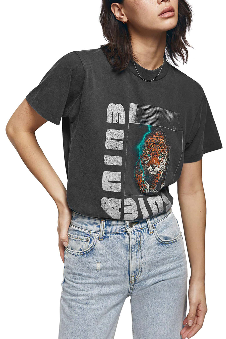 Wild Cat Tee - Washed Black