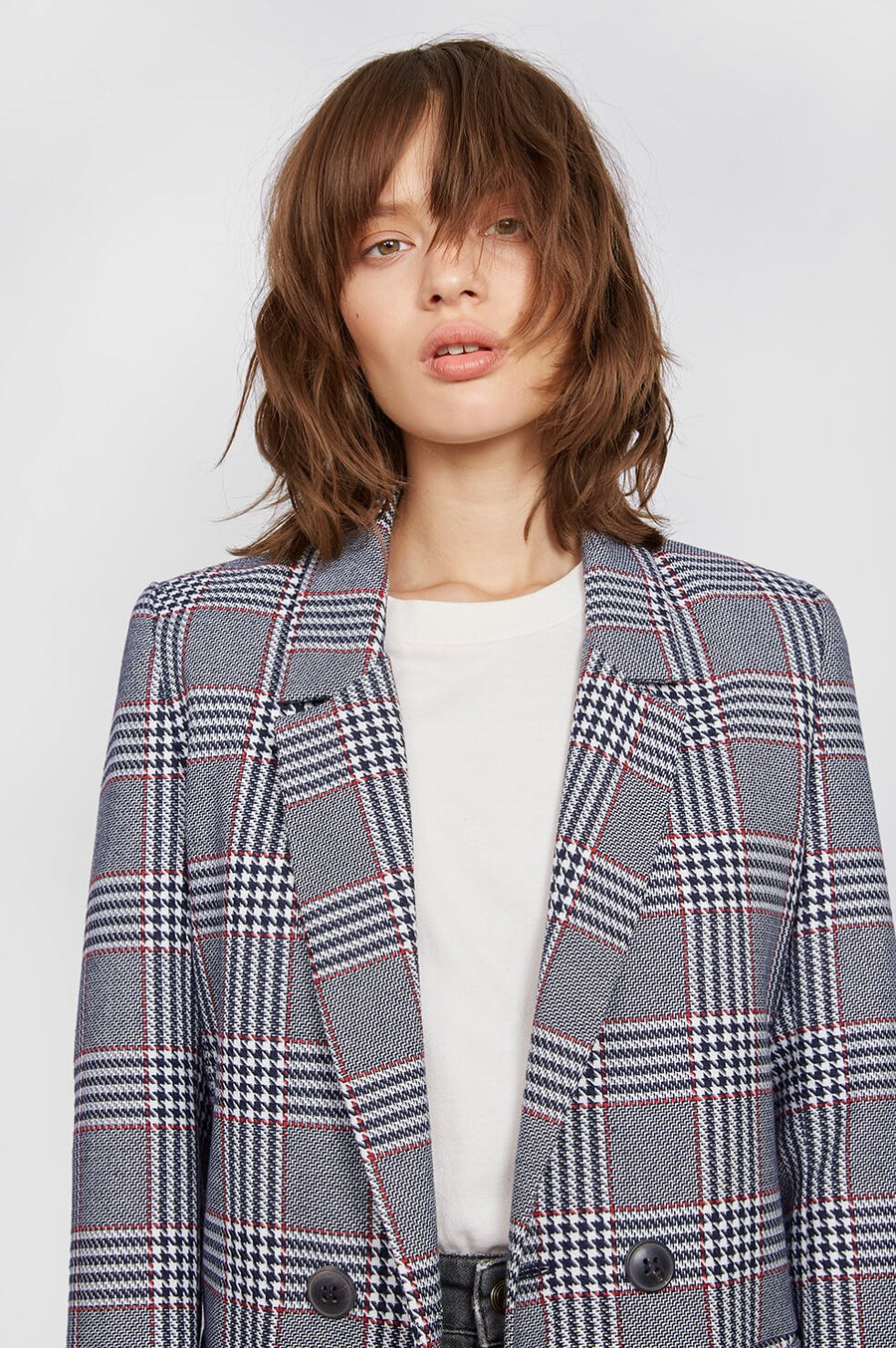 Madeleine Blazer - Red and Blue Check
