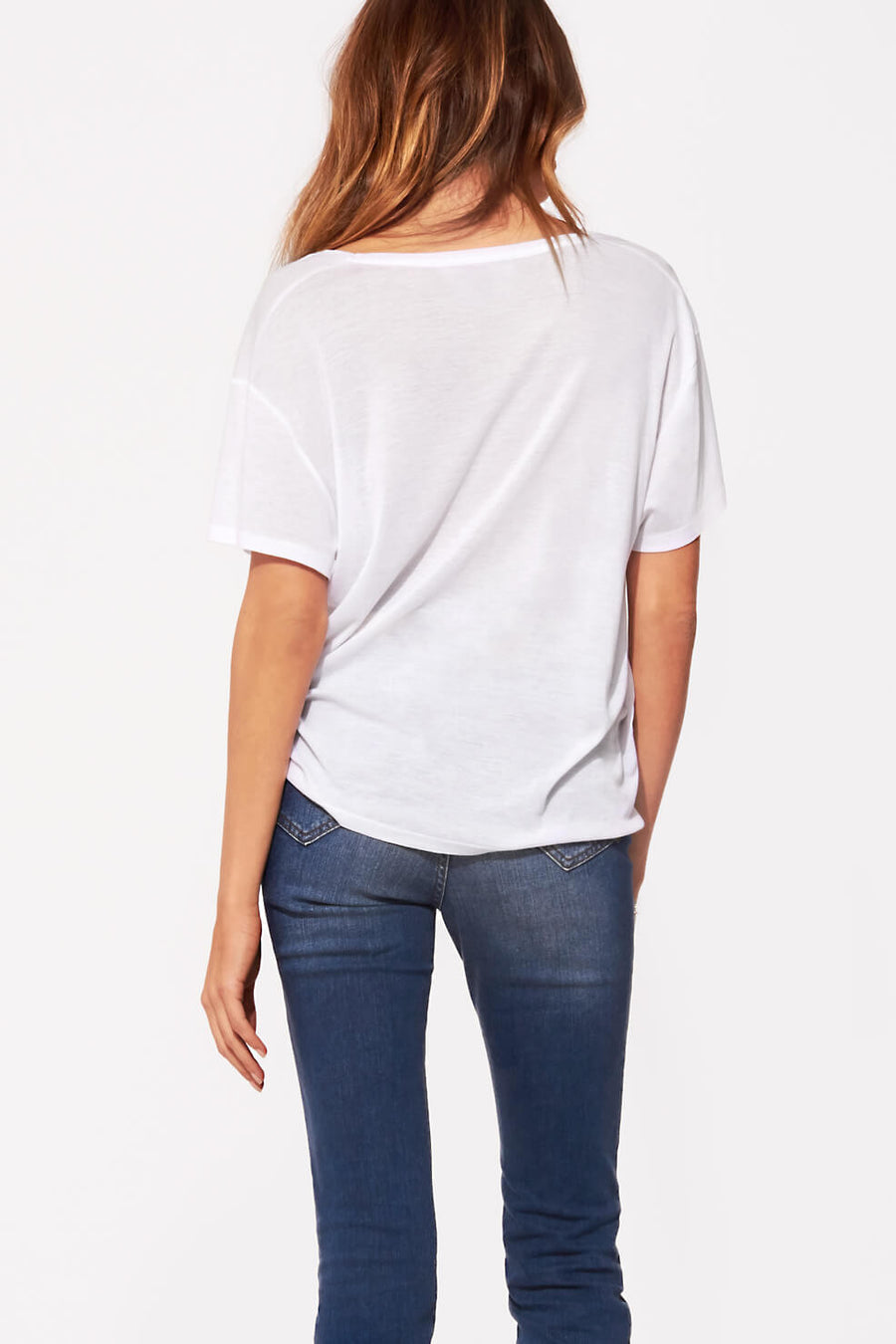 Deep Silk V Neck Tee - White - Pavilion