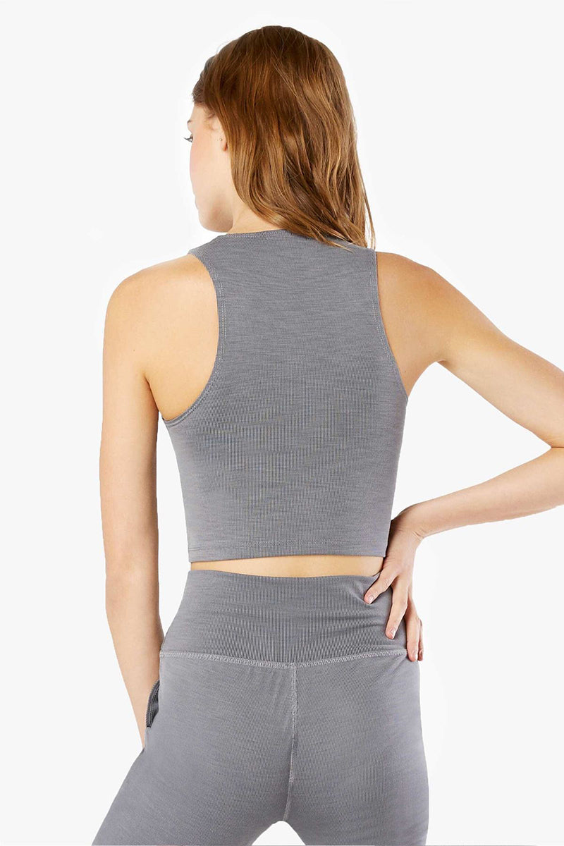 Heather Rib Go To Cropped Tank - Grey Heather