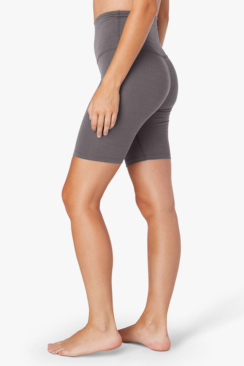 Heather Rib High Waisted Biker Short - Grey Heather