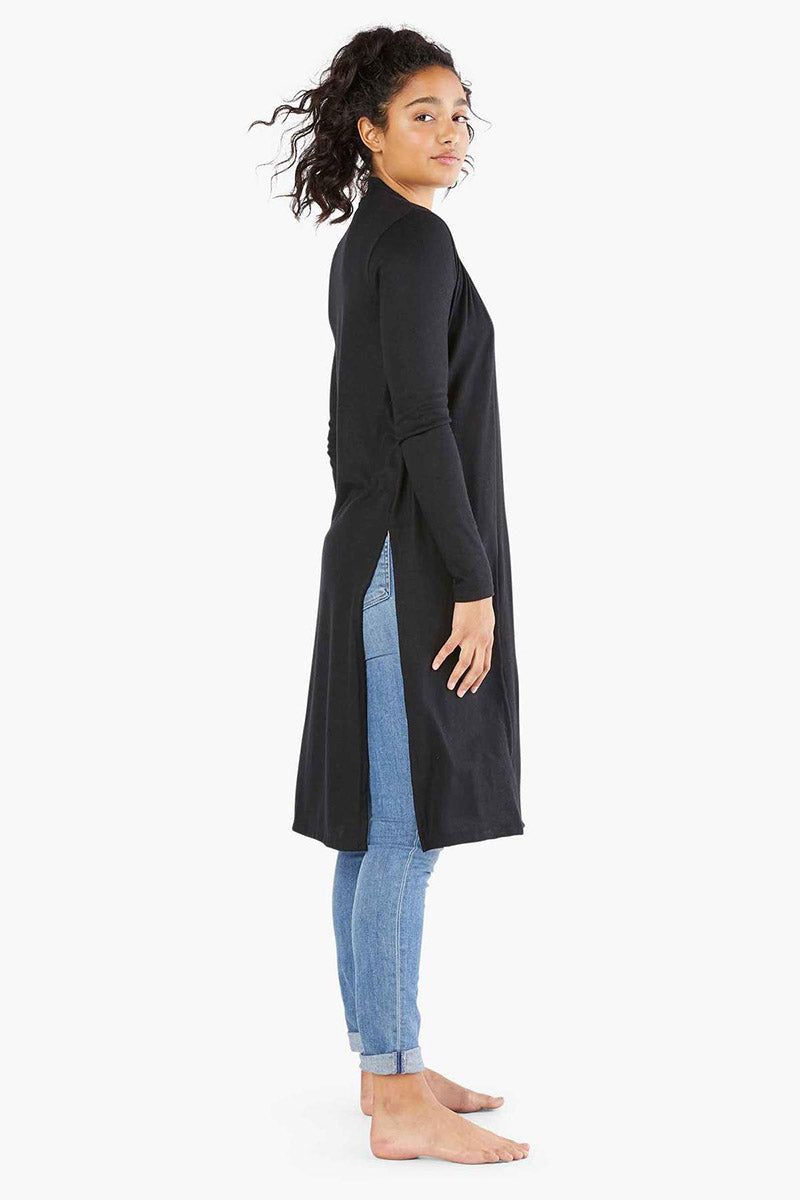 Luxe Lounger High Slits Long Duster - Black