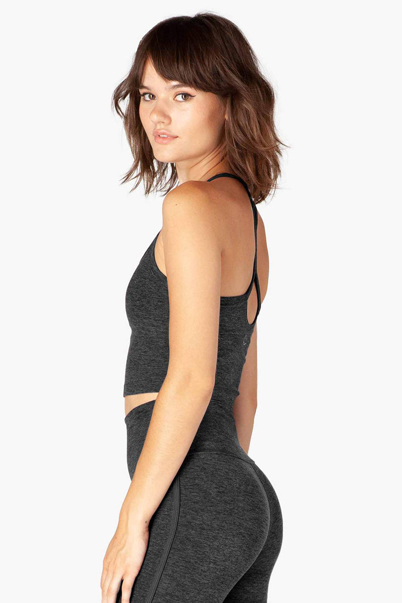 Spacedye Slim Racerback Cropped Tank - Black-Charcoal