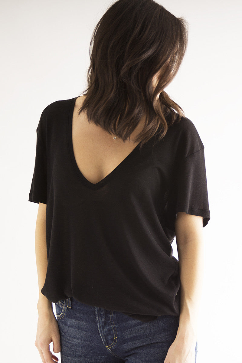 Deep Silk V Neck Tee - Black - Pavilion