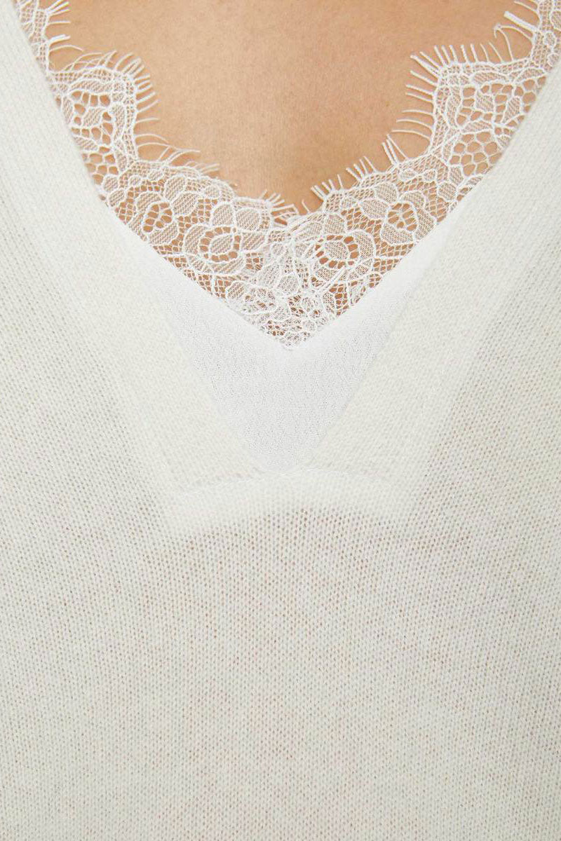 The Looker Layered Lace V-Neck - Ivory - Pavilion