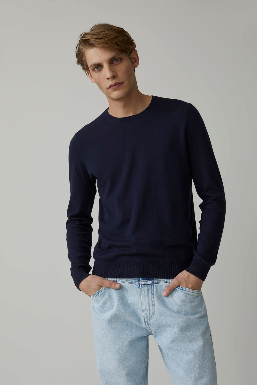 Cotton Fine Knit Sweater - Dark Night