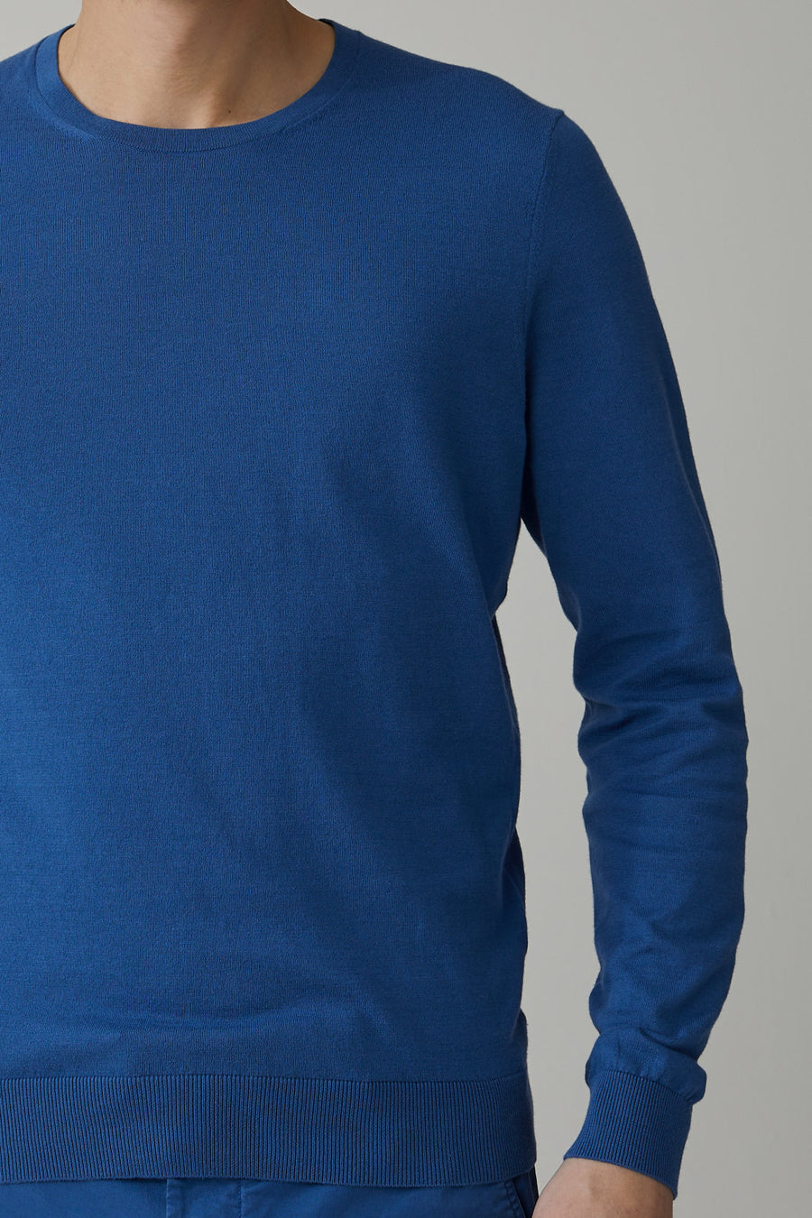 Cotton Fine Knit Sweater - Fading Indigo