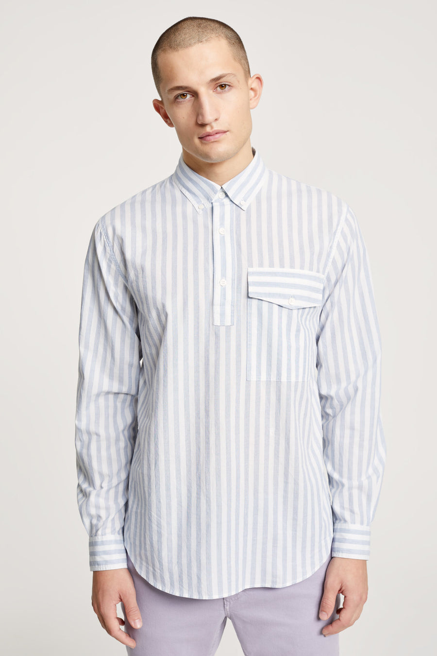 Button Down Half Placket Shirt - Dark Night - Pavilion