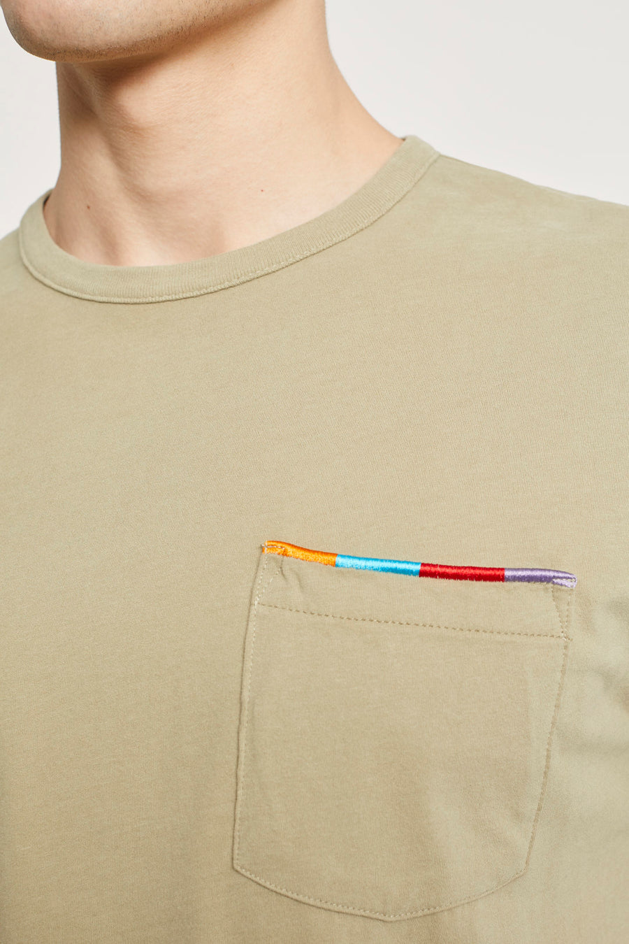 T-Shirt with Embroidery - Cut Hay