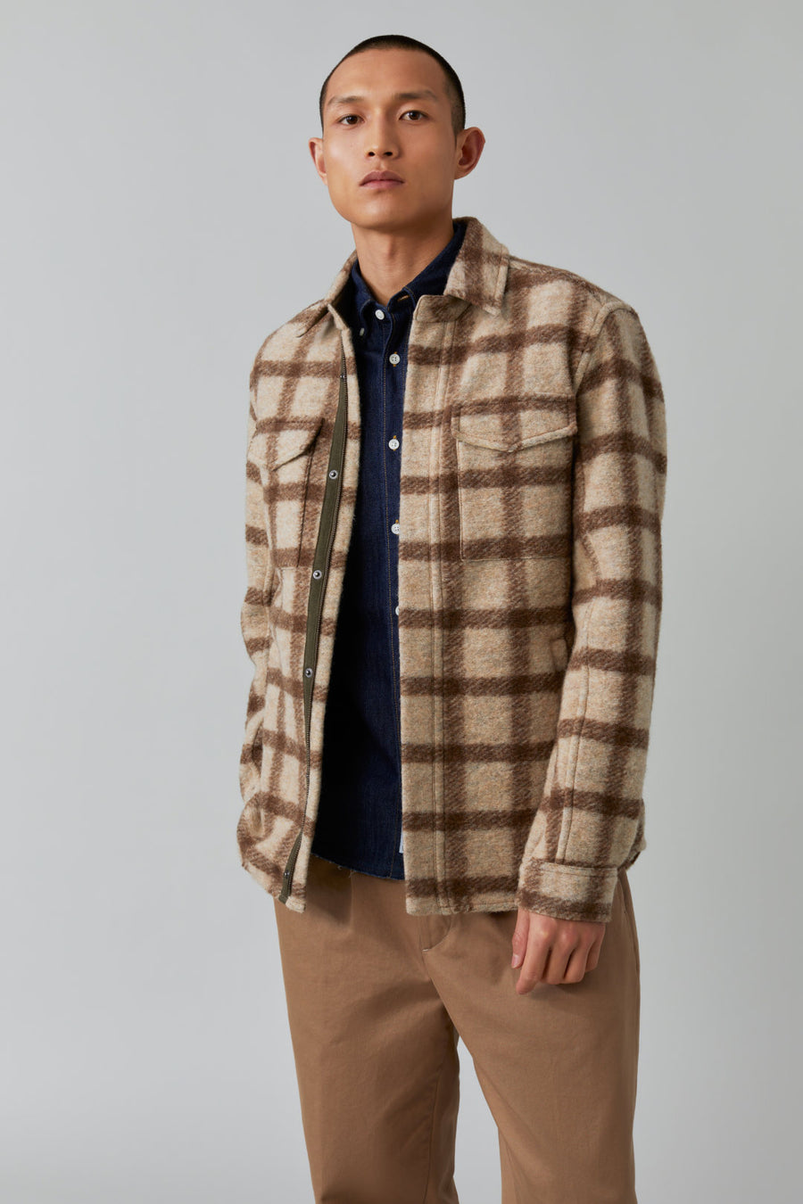 Zipped Overshirt - Grain Beige