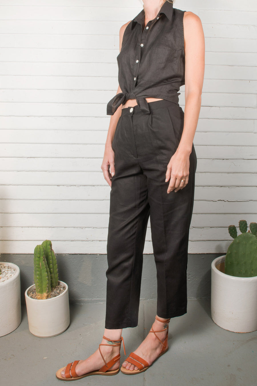 High Waist Linen Trouser - Pavilion