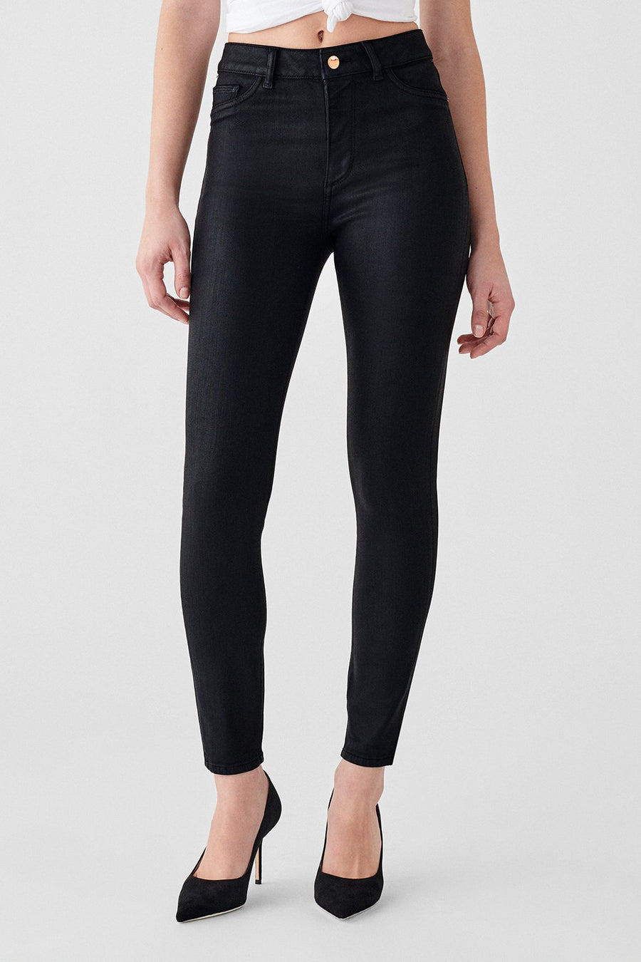 Farrow Ankle High Rise Instasculpt Skinny - Black Coated - Pavilion